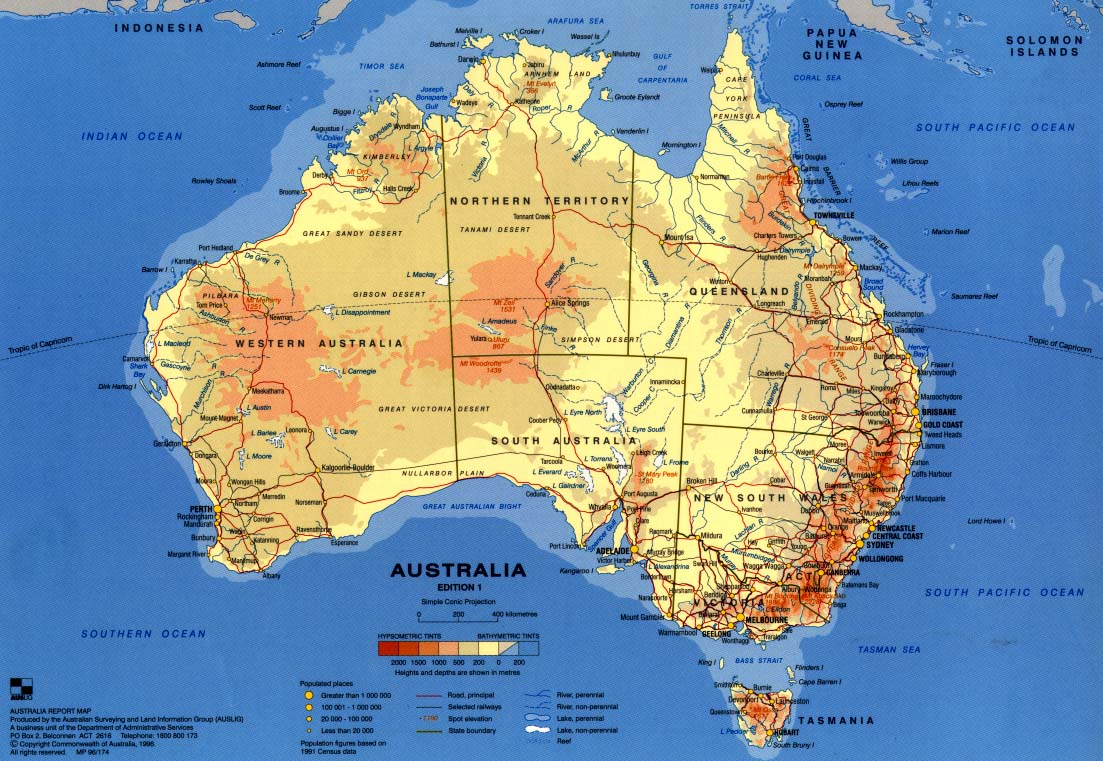 Maps Update Road Map of Australia Large detailed road map of – Map of Australlia